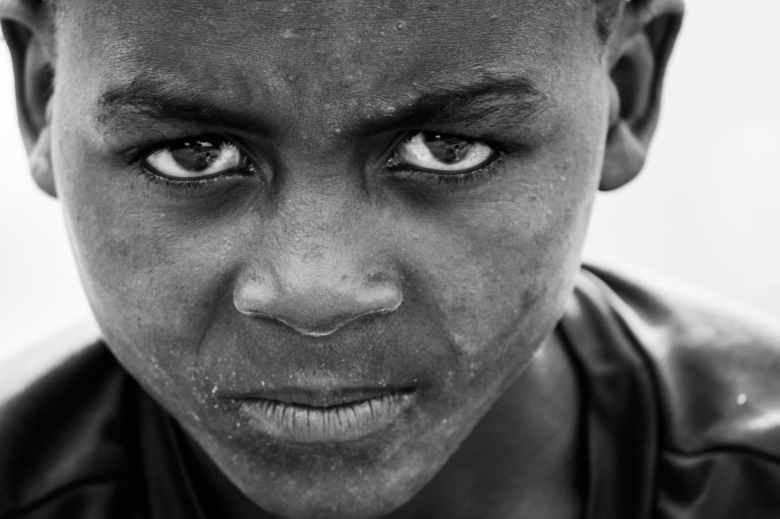boy s face gray scale photo